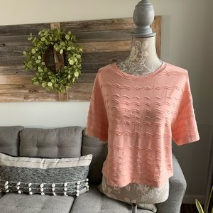 NWT Madewell Scallop Striped Top - Antique Coral